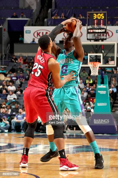Johnny O'Bryant III of the Charlotte Hornets handles the ball against the Miami Heat on December 15 2017 at Spectrum Center in Charlotte North...