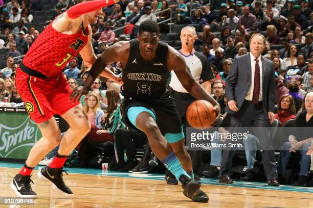 Johnny O'Bryant III of the Charlotte Hornets handles the ball against the Atlanta Hawks on January 26 2018 at Spectrum Center in Charlotte North...