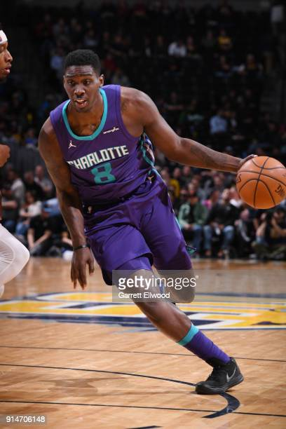 Johnny O'Bryant III of the Charlotte Hornets handles the ball during the game against the Denver Nuggets on February 5 2018 at the Pepsi Center in...