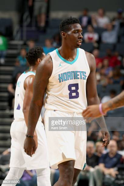 Johnny O'Bryant III of the Charlotte Hornets looks on during the game against the Boston Celtics on October 11 2017 at Spectrum Center in Charlotte...