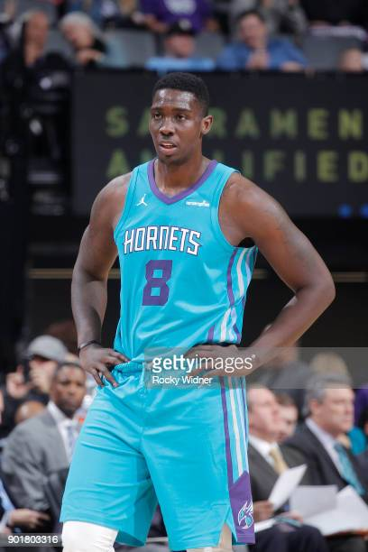 Johnny O'Bryant III of the Charlotte Hornets looks on during the game against the Sacramento Kings on January 2 2018 at Golden 1 Center in Sacramento...