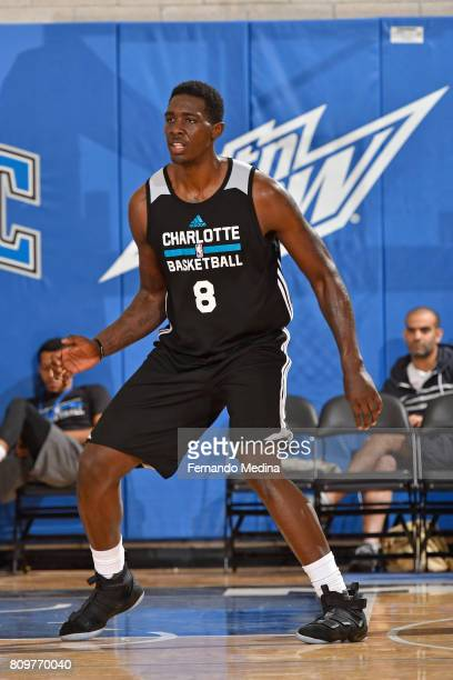 Johnny O'Bryant III of the Charlotte Hornets plays defense against the Orlando Magic during the Mountain Dew Orlando Pro Summer League on July 6 2017...
