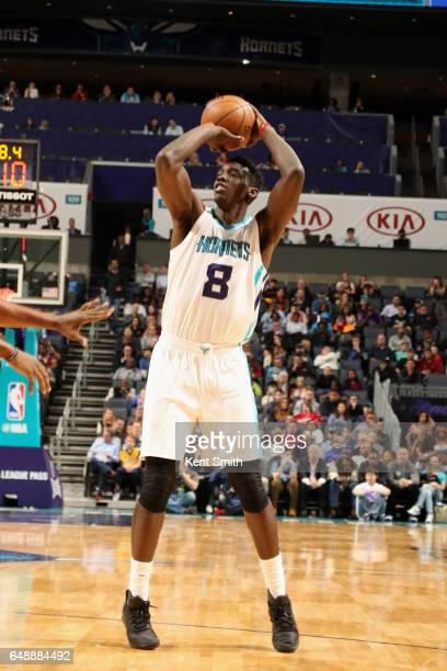 Johnny O'Bryant III of the Charlotte Hornets shoots the ball against the Indiana Pacers on March 6 2017 at Spectrum Center in Charlotte North...
