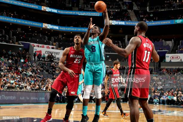 Johnny O'Bryant III of the Charlotte Hornets shoots the ball against the Miami Heat on December 15 2017 at Spectrum Center in Charlotte North...