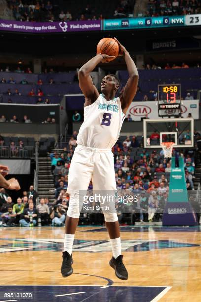 Johnny O'Bryant III of the Charlotte Hornets shoots the ball against the New York Knicks on December 18 2017 at Spectrum Center in Charlotte North...