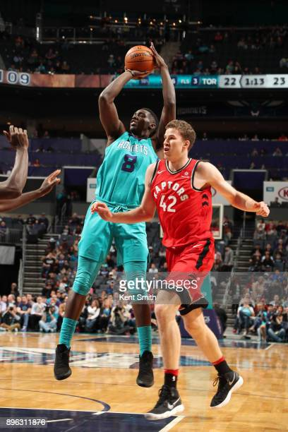 Johnny O'Bryant III of the Charlotte Hornets shoots the ball against the Toronto Raptors on December 20 2017 at Spectrum Center in Charlotte North...