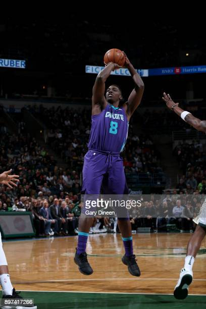 Johnny O'Bryant III of the Charlotte Hornets shoots the ball during the game against the Milwaukee Bucks on December 22 2017 at the Bradley Center in...