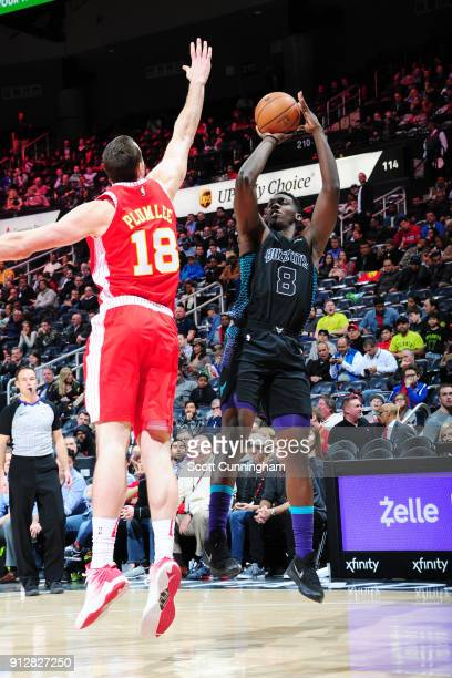 Johnny O'Bryant III of the Charlotte Hornets shoots the ball during the game against the Atlanta Hawks on January 31 2018 at Philips Arena in Atlanta...