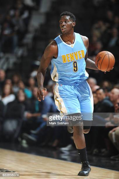 Johnny O'Bryant III of the Denver Nuggets handles the ball during the game against the San Antonio Spurs on February 4 2017 at the ATT Center in San...