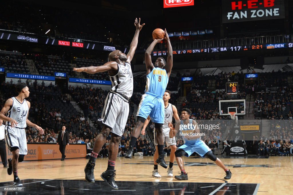Johnny O'Bryant III #9 of the Denver Nuggets shoots the ball during the game against the San Antonio Spurs on February 4, 2017 at the AT&T Center in San Antonio, Texas.