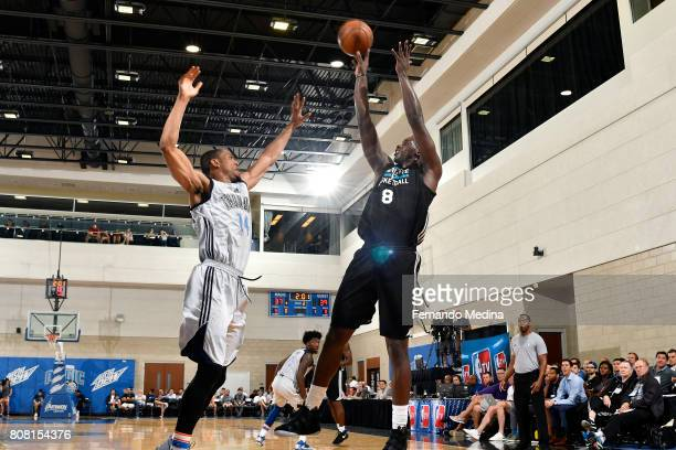 Johnny OBryant of the Charlotte Hornets shoots the ball during the game against Vince Hunter of the Oklahoma City Thunder during the 2017 Orlando...