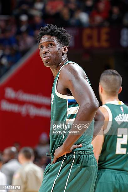 Johnny O'Bryant of the Milwaukee Bucks looks on during the game against the Cleveland Cavaliers on November 19 2015 at Quicken Loans Arena in...