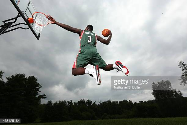 Johnny O'Bryant of the Milwaukee Bucks poses for a portrait during the 2014 NBA rookie photo shoot on August 3 2014 at the Madison Square Garden...