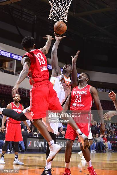 Johnny OBryant of the Northern Arizona Suns shoots against Julien Lewis of the Rio Grande Valley Vipers on December 9 at Prescott Valley Event Center...
