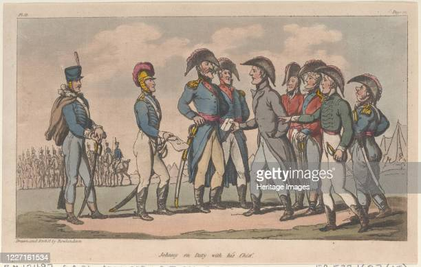 Johnny on Duty with his Chief from The Military Adventures of Johnny Newcome 1815 Artist Thomas Rowlandson