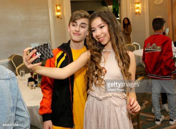 Johnny Orlando and Lulu Lambros attend Claire's Dream Big Awards at the Beverly Hills Hotel on April 12 2018 in Beverly Hills California