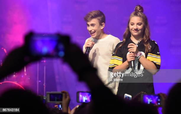 Johnny Orlando Mackenzie Ziegler perform during their 'Day NIght' tour at Mr Smalls on October 28 2017 in Millvale Pennsylvania