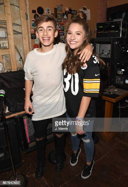 Johnny Orlando Mackenzie Ziegler pose backstage during their 'Day NIght' tour at Mr Smalls on October 28 2017 in Millvale Pennsylvania
