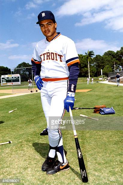 Johnny Paredes of the Detroit Tigers poses for a portrait before a spring training game against the Los Angeles Dodgers in March 1991 at Holman...