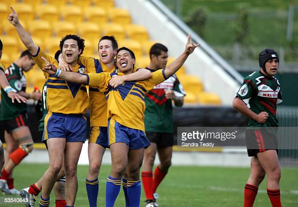 Johnny Poi Graeme Rattenbury and Jack Noble celebrate after Mt Albert won 1410 in the Fox Memorial Grand Final against Mangere East Hawks at Ericsson...