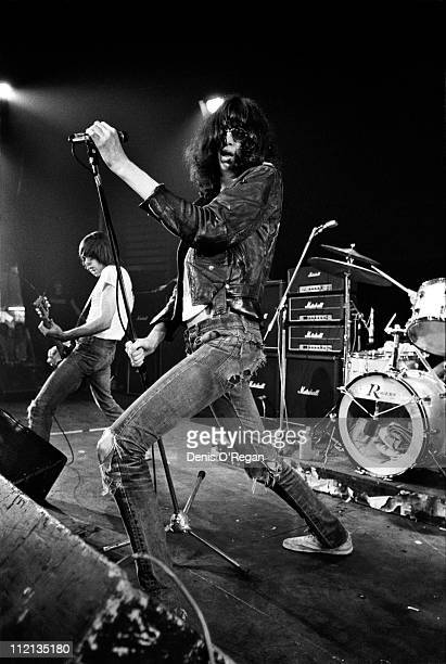 Johnny Ramone and Joey Ramone of The Ramones in concert at the Roundhouse in London 1977