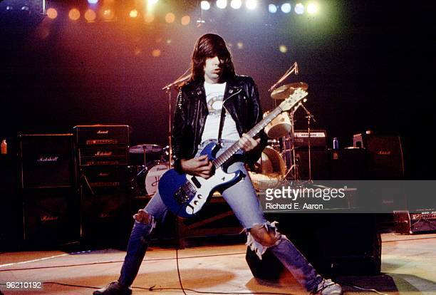 Johnny Ramone from The Ramones performs live on stage at The Palladium, New York on January 07 1978