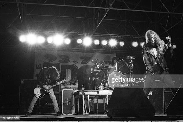 Johnny Ramone, Marky Ramone, and Joey Ramone perform with the Ramones at Edge Fest 2 at Float-Rite Park in Somerset, Wisconsin on May 28, 1995.