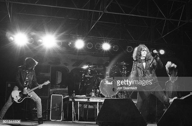 Johnny Ramone, Marky Ramone, Joey Ramone, and C.J. Ramone perform with the Ramones at Edge Fest 2 at Float-Rite Park in Somerset, Wisconsin on May...