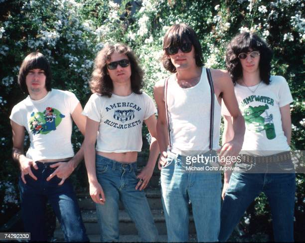 Johnny Ramone Tommy Ramone Dee Dee Ramone and Joey Ramone of the rock and roll band 'The Ramones' pose for a in Los Angeles California in August of...