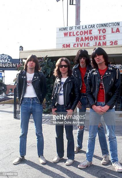 Johnny Ramone Tommy Ramone Joey Ramone and Dee Dee Ramone of the rock and roll band The Ramones pose for a portrait holding letters that spell out...