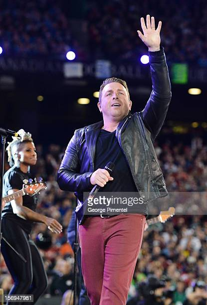 Johnny Reid performs during the preshow at the CFL's 100th Grey Cup Championship at the Rogers Centre on November 25 2012 in Toronto Canada