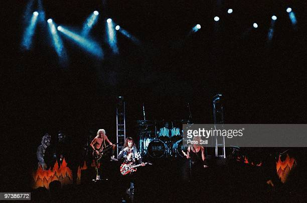 Johnny Rod Blackie Lawless Frankie Banali and Chris Holmes of WASP perform on stage at Hammersmith Odeon on May 15th 1989 in London England