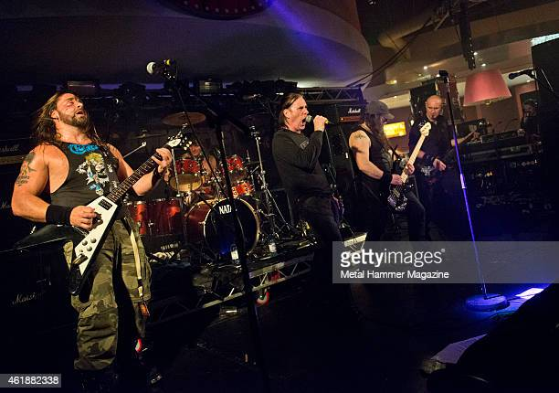Johnny Rodgers Mark Duffy Andy Burton and Shane Haigh of English heavy metal group Toranega performing live on stage at Hammerfest music festival in...