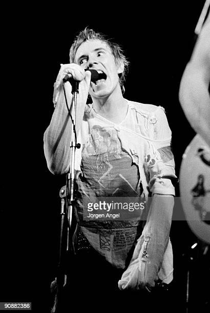 Johnny Rotten of the Sex Pistols performs on stage on July 13th 1977 in Copenhagen Denmark