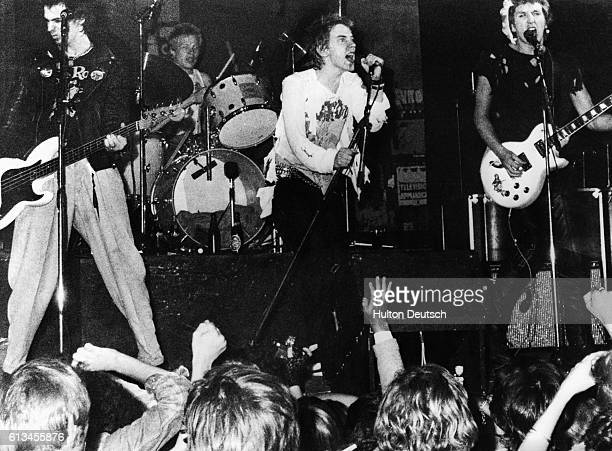 Johnny Rotten sings for The Sex Pistols a widely known punk band circa 1975