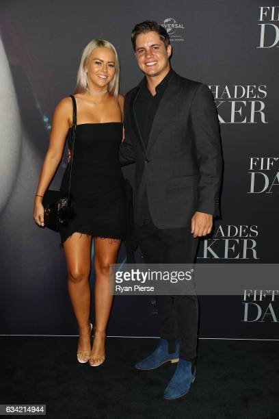 Johnny Ruffo and guest arrives ahead of the Fifty Shades Darker launch screening at Hoyts Entertainment Quarter on February 8 2017 in Sydney Australia