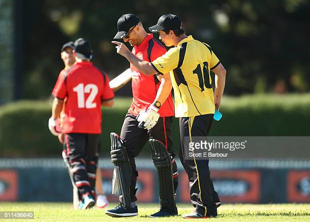 Johnny Ruffo gestures to Steve Willis also known as The Commando after he was dismissed during the Medibank Melbourne Celebrity Twenty20 match at...