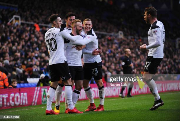 Johnny Russell of Derby County celebrates after scoring during the Sky Bet Championship match between Birmingham City and Derby County at St Andrews...