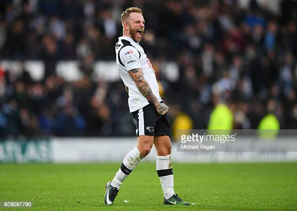 Johnny Russell of Derby County celebrates victory after the final whistle during the Sky Bet Championship match between Derby County and Nottingham...