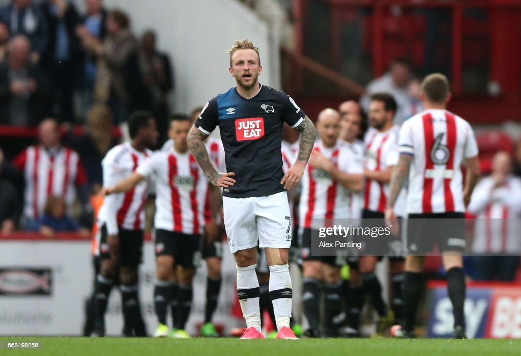 Johnny Russell of Derby County looks dejected after his side concede their 4th goal during the Sky Bet Championship match between Brentford and Derby County at Griffin Park on April 14, 2017 in Brentford, England.