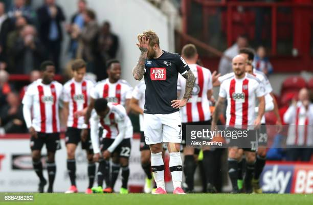 Johnny Russell of Derby County looks dejected after his side concede their 4th goal during the Sky Bet Championship match between Brentford and Derby...