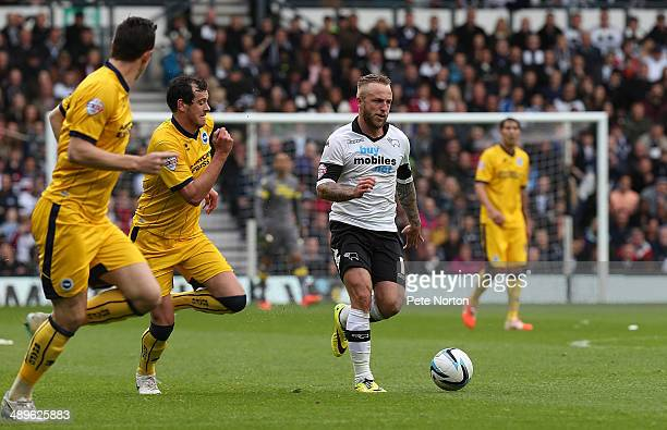 Johnny Russell of Derby County moves forward with the ball during the Sky Bet Championship Semi Final Second Leg between Derby County and Brighton...