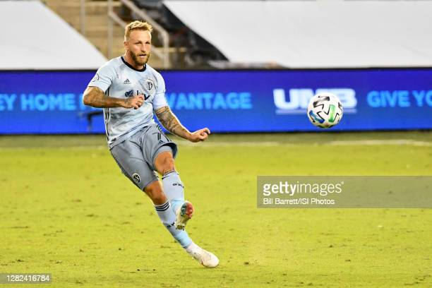 Johnny Russell of Sporting Kansas City passes the ball during a game between Nashville SC and Sporting Kansas City at Children's Mercy Park on...
