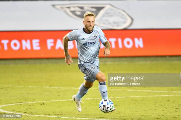 Johnny Russell of Sporting Kansas City with the ball during a game between Nashville SC and Sporting Kansas City at Children's Mercy Park on October...