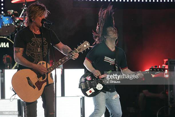 Johnny Rzeznik and Robby Takac of Goo Goo Dolls during Goo Goo Dolls Performs Live at Verizon Wireless Amphitheater June 30 2006 at Verizon Wireless...