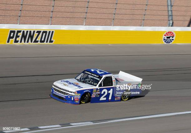Johnny Sauter Allegiant Airlines Chevrolet drives into turn four during the second practice session for the NASCAR Camping World Truck Series...