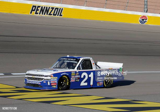 Johnny Sauter Allegiant Airlines Chevrolet heads for the pits during the second practice session for the NASCAR Camping World Truck Series...