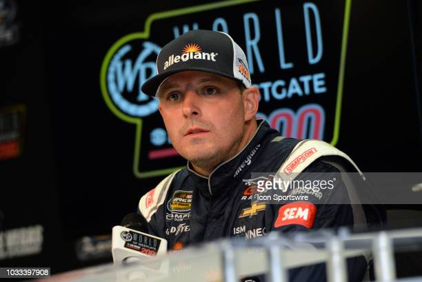 Johnny Sauter Allegiant Chevrolet Silverado addresses the media at the conclusion of the NASCAR Camping World Truck Series South Point Hotel Casino...