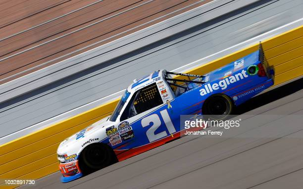 Johnny Sauter driver of Allegiant Chevrolet drives during practice for the NASCAR Camping World Truck Series World of Wesgate 200 on September 13...