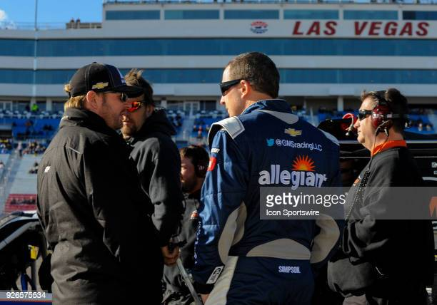 Johnny Sauter driver of the Allegiant Airlines Chevrolet during the Startosphere 200 qualifying on March 2 2018 at Las Vegas Moter Speedway in Las...